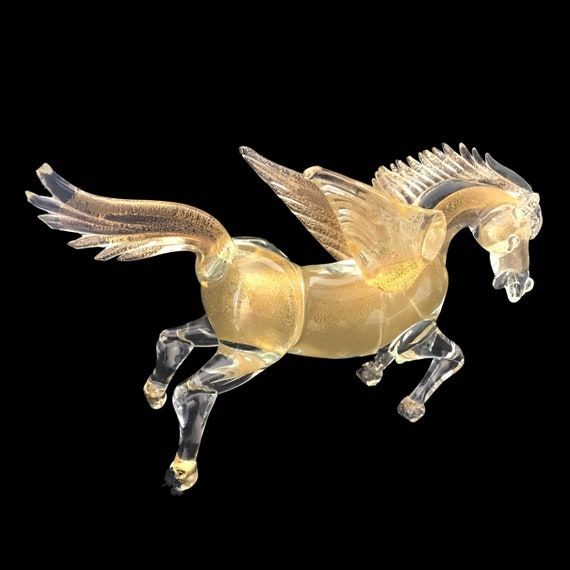 MURANO Gold & Crystal Glass PEGASUS | Winged Horse Statue | Sculpture | Figurine