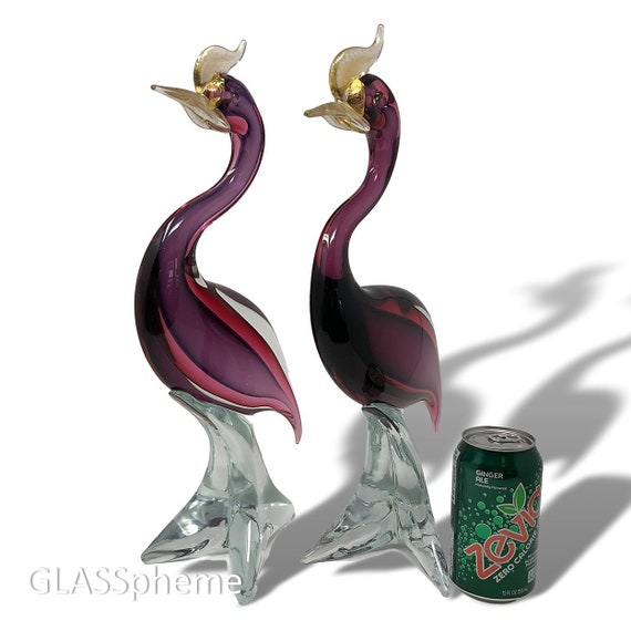 MONUMENTAL C.1960s MURANO Sommerso Cranberry Purple Glass Love Birds