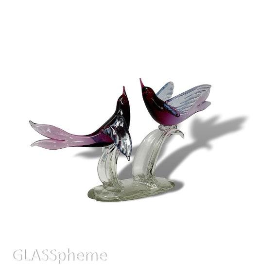 20th Century MURANO Cranberry Alexandrite Sfumato Glass Love Birds Sculpture - Pristine