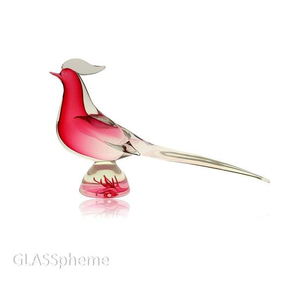 Massive RARE SEGUSO Murano Sommerso CRANBERRY Glass Bird | Cockeral | Pheasant
