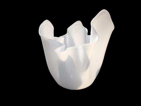 MASSIVE 1950's VENINI FAZZOLETTO by Fulvio Bianconi, Signed, White Glass Vase