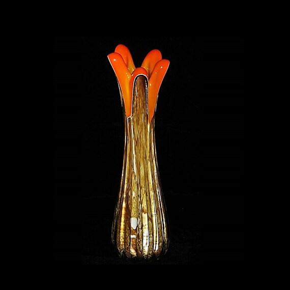 RARE MidCentury FRATELLI TOSO Italian Cased Glass Biomorphic Vase w/Label