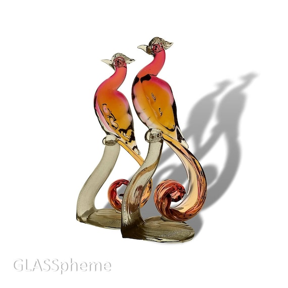 """SUBLIME 12"""" Alfredo BARBINI Sommerso Glass Love Birds Pair Sculpture 