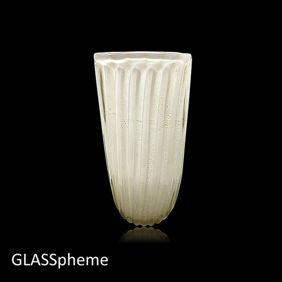 MASSIVE FRATELLI TOSO Murano  Gold-Flecked Incamiciato Lattimo Glass Vase