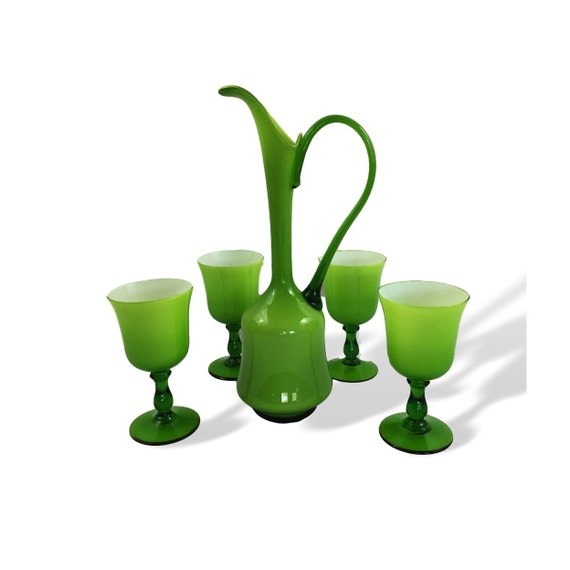 Midcentury Mod Italian/Empoli Cased Glass Decanter Set in LIME GREEN