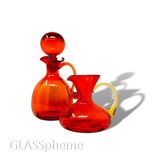 C.1970s RAINBOW GLASS Amberina Optic Decanter & Pitcher Set - MINTY