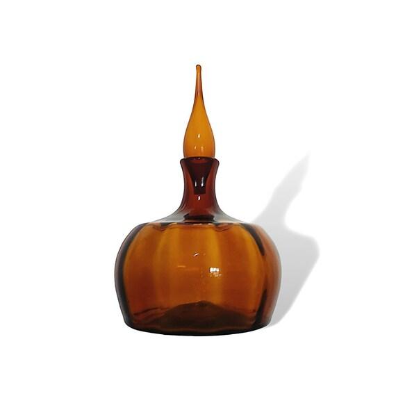 """BLENKO Myers #6417 BIG Optic Glass """"Pumpkin"""" Decanter in HONEY"""