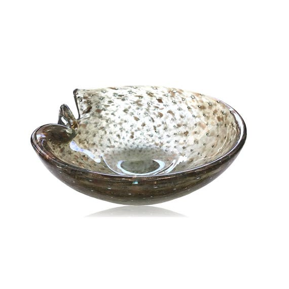 EYECATCHING MURANO Green Gold-Flecked Bullicante Glass Bowl/Dish/Ashtray