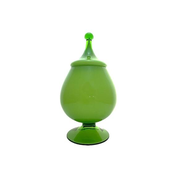 MIDCENTURY Italian/Empoli LIME GREEN Cased Glass Apothecary Jar