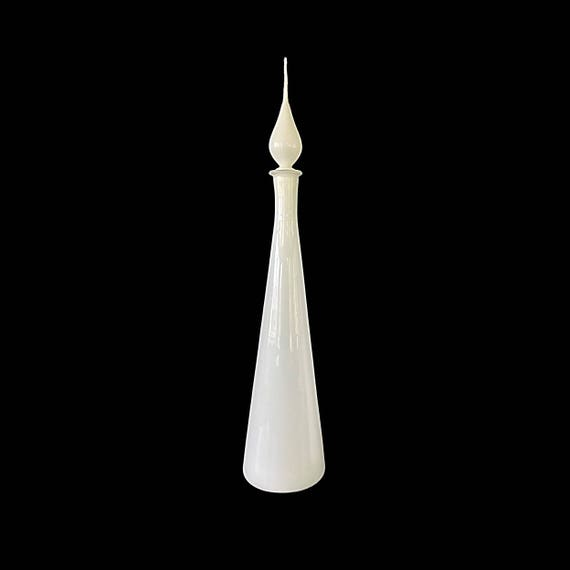 """Towering 27.5"""" Mid-Century Italy/Empoli White Cased Glass Decanter #5"""