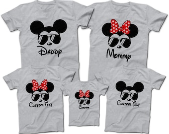 6bef7c463 Mickey Mouse Minnie Mouse Aviator Sunglasses T-Shirts | Disney Family Group  T-Shirts | Daddy Mommy and Kids Tees | Disney World 2019