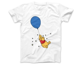 0fb8bf34c Winnie the Pooh Balloon T-Shirt | Disney Pooh T-Shirt | Cute Pooh Bear Tee  | Available in White | Heather Grey | Light Pink | and Light Blue