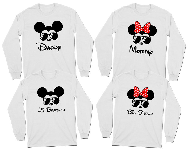 c8b8a77fe9208 Mickey Mouse Minnie Mouse Aviator Sunglasses Long Sleeve T-Shirt | Disney  Family Group Shirts | Daddy Mommy and Kids Shirts | Disney 2019