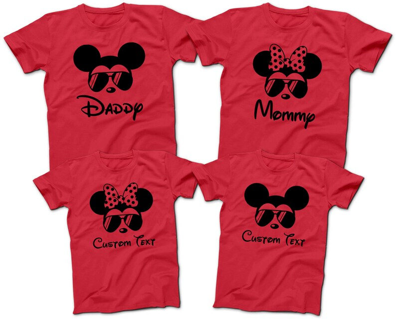 1738a8178e82f Mickey Mouse Minnie Mouse Aviator Sunglasses T-Shirts | Disney Family Group  T-Shirts | Daddy Mommy and Kids Tees | Disney World 2019