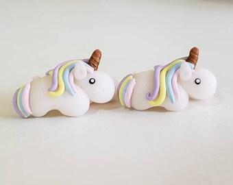 Unicorn earring.Pastel unicorn stud.Unicorn earrings.Magical unicorn earring.Unicorn jewelry.Sensitive ears earrings.Unicorn toddler earring