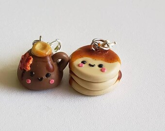 Pancakes and syrup charms. Pancake kawaii charm.Maple syrup kawaii charm. Kawaii progress keepers.Pancake gift.Kawaii charms.Planner charms.