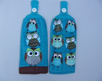 Hanging Dish Towels, Crocheted Top Hand Towel, Set Of 2, Owl Kitchen Towel, Owl  Decor, Shower Gift, Hanging Towel, Crocheted Top Towel