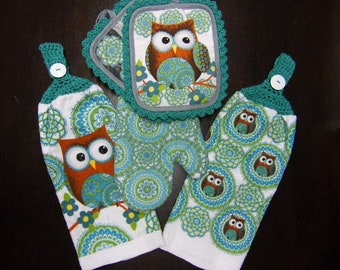 Merveilleux Crocheted Top Hanging Kitchen Towel Set Of 5, Owl Hand Towel, Crochet Owl  Hand Towel, Made With Full Towel No Cut No Sew, Owl Kitchen Decor
