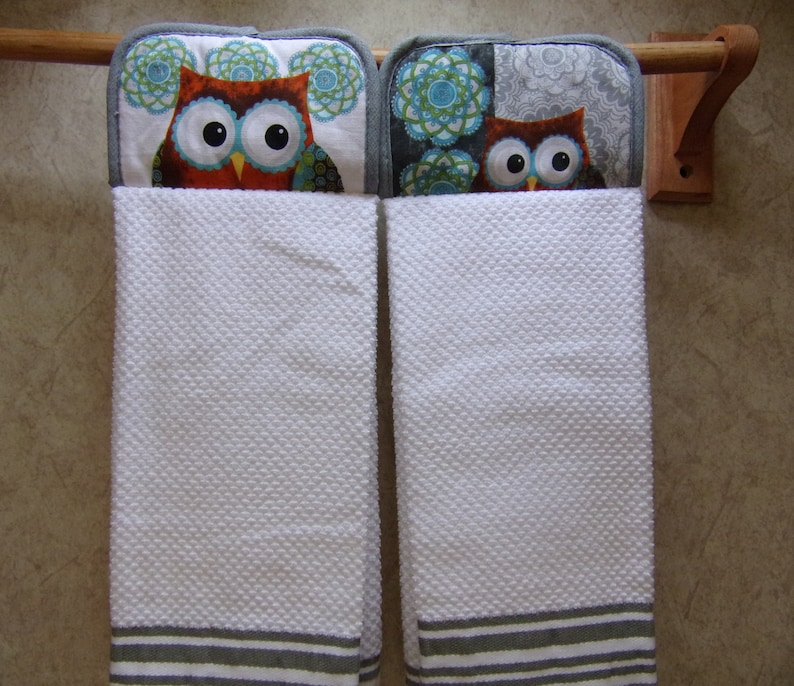 pot holder hanging kitchen dish towel set of 2, owl kitchen decor,  reversible towel, double oven towel, made with full towel no cut no sew