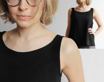 schwarzes Oberteil in reine Viskose Kleidung frische handgemachte elegante Licht-