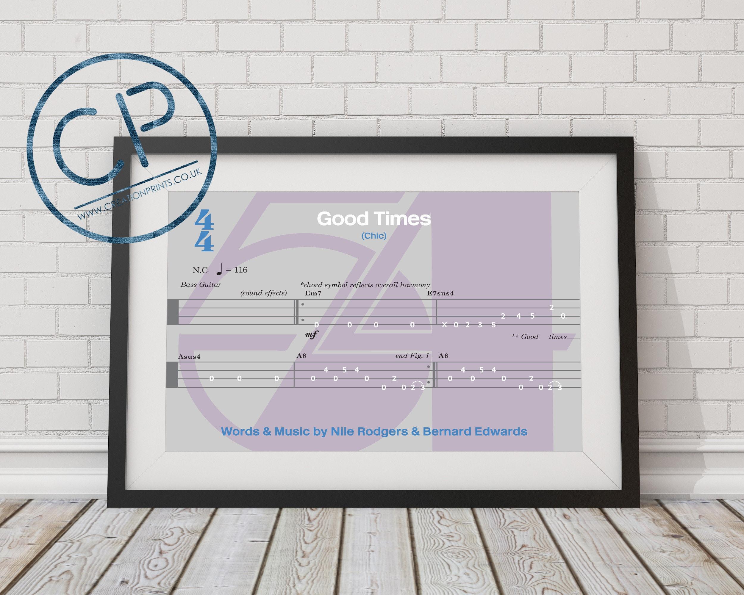 Chic Good Times Bass Guitar Tab Inspired Print Etsy