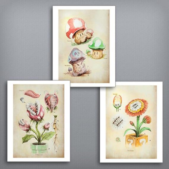 Set Of 3 Super Mario Botanical Illustration 8 5 X Etsy