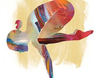 yoga art downward dog large yoga art yoga wall  etsy
