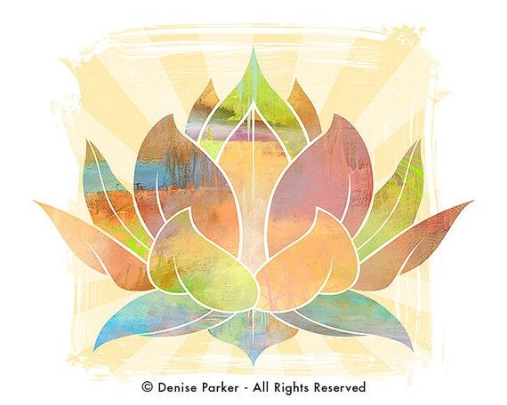 Yoga Art Lotus Flower Sun Colors Large Etsy
