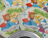 Ohio Art Tin Litho Tea Party Set. Little Red Riding Hood Wolf. 4 plates saucers 1 odd plate. Mid Century 1950 60s. FREE SHIP in US