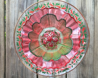 "Christmas Plate Flower, Vintage Glass, Garden Decor ""Christmas Carol"""