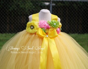 Flower girl tutu dress. Yellow tutu dress. Flower girl dress. Birthday tutu dress. Pageant tutu. More colors available.