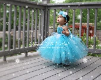 8b062ef78 Elsa tutu dress, train, & matching hairpiece. Ice Princess tutu dress.  Halloween costume. Frozen tutu dress. Princess birthday tutu dress.