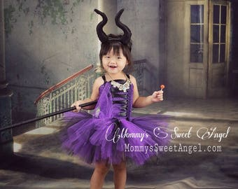 Maleficent tutu dress comes w/ matching bow. Baby girl Halloween costumes. First Birthday tutu dress. Sleeping Beauty Descendent tutu dress  sc 1 st  Etsy & Baby tutu costume | Etsy