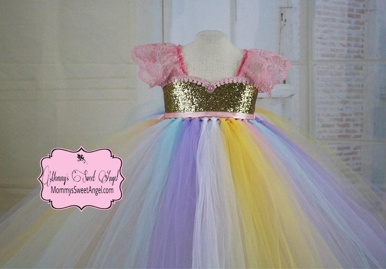 b082ba252d481 Rainbow tutu dress. Pageant tutu dress. Flower girl tutu | Etsy