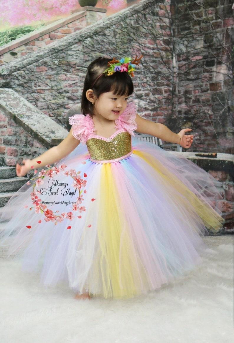7884c2e0b20 Rainbow tutu dress. Pageant tutu dress. Flower girl tutu