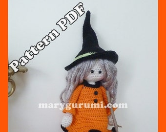 Crochet Pattern, pattern, tutorial, Amigurumi doll, witch