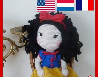 Crochet Pattern, pattern, tutorial, Amigurumi doll snow white