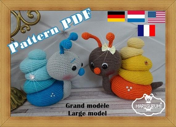 Crochet Pattern Patron Tutoriel Amigurumi Escargot Grand Modèle