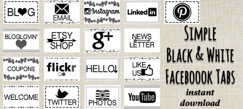 INSTANT DOWNLOAD Simple Black & White Facebook Tabs