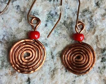 Egyptian Spiral Hammered Copper Earrings