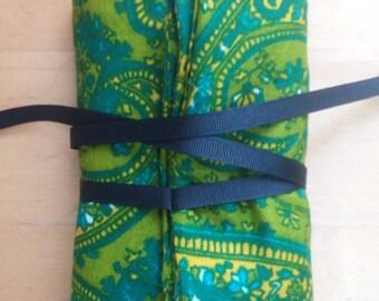 Tarot Card Pouch/Spread Cloth Combo - Green Paisley Print