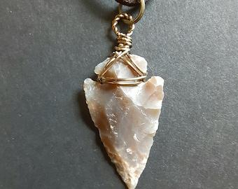 Arrowhead Pendant, brown agate