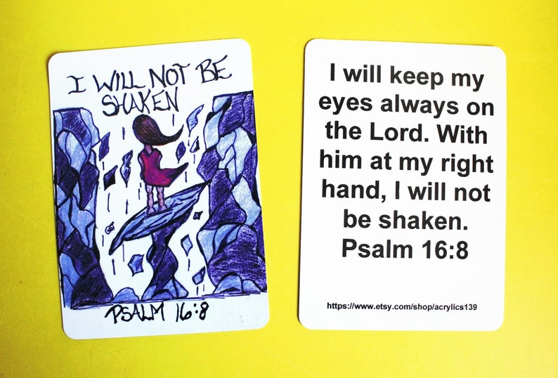 I will not be shaken...Psalm 16:8mini Scripture doodle bible memory verse card of encouragementTrusting in God when the world is falling