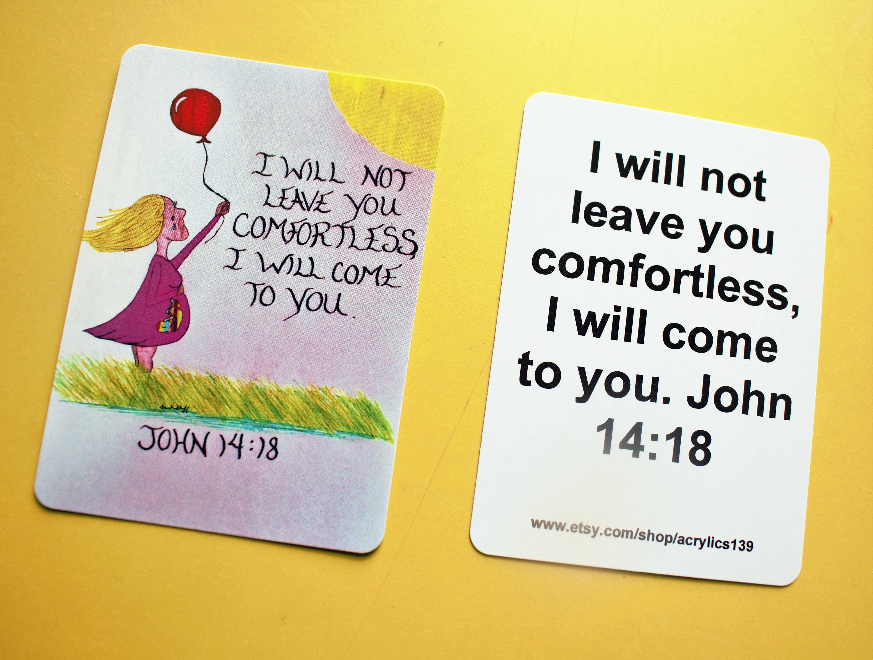 Rainbow Baby Scripture Doodle/John 14:18/ Mom's/Comfort in Baby  Loss/Comfort Card for Miscarriage/Rainbow Baby Bookmark/Rainbow Baby Magnet