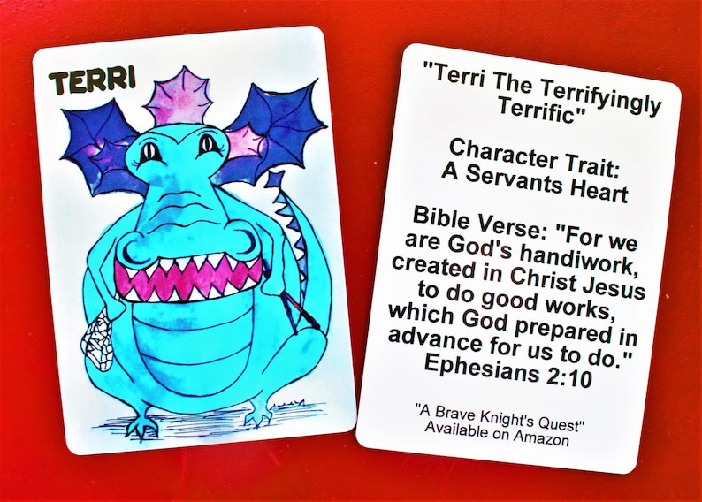 Terri Book Character trading Card from A Brave Knight/'s QuestDragon BookmarkServants HeartEphesians 2:10Kid Bible cardTerri Collector