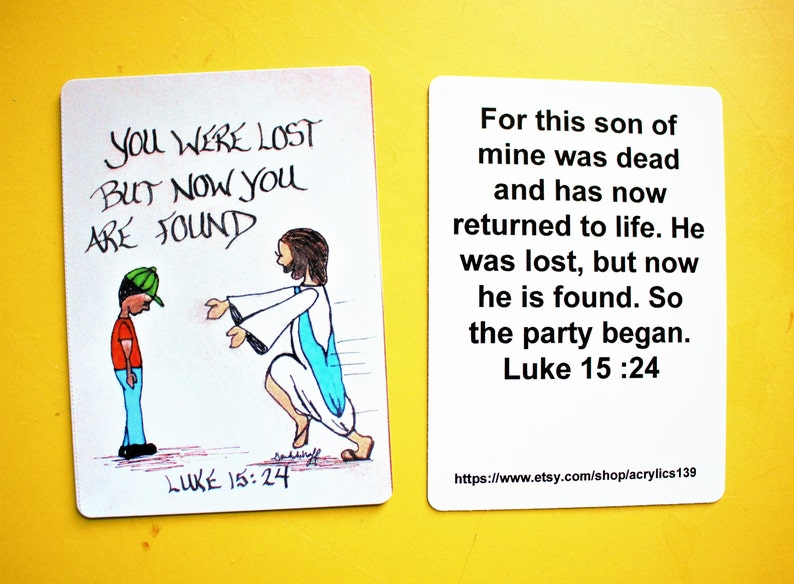Scripture Doodle Bible Verse Card of Encouragement/Luke 15:24/Prodigal  Son/Scripture Bookmark/Scripture Magnet/Prayer Card/Christian Gift