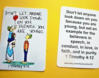 Scripture Doodle of Encouragement Card/1 Timothy 4:12/Faith Like a Child/Scripture Magnet/Scripture Bookmark/Jesus Doodle Art/Jesus Card