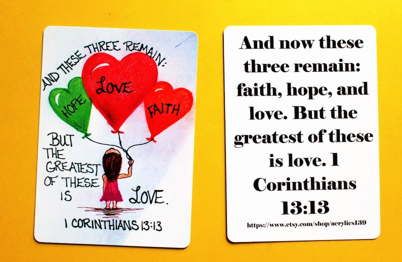 Scripture Doodle Mini Memory Verse Card of Encouragement1 Corinthian 13:13BookmarkBible Verse Trading CardCollector CardScripture Verse