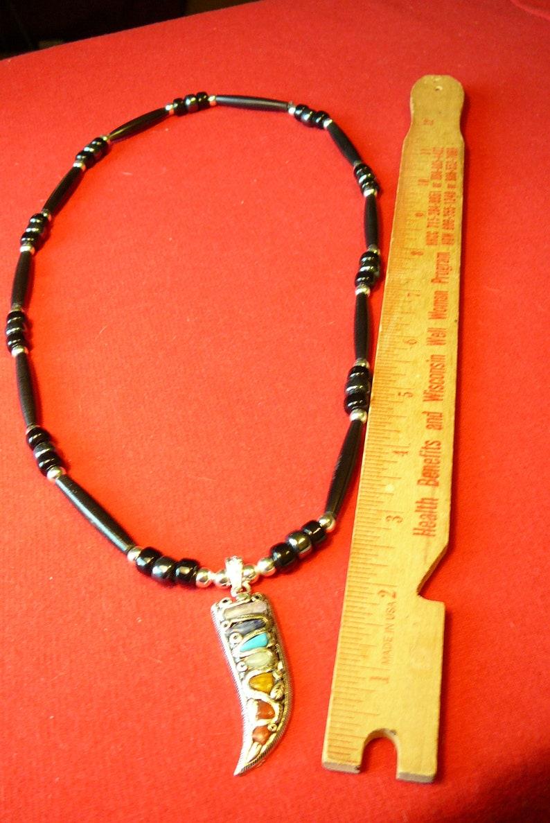 Seven Gemstones Claw Black Bison Bones Necklace Native American Indian