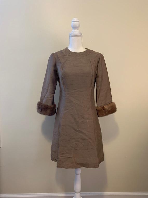 Vintage 50s Hudson's Bronze Dress with Fur Trimmed